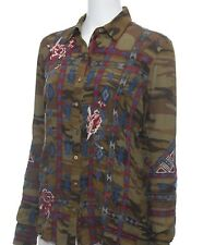 Johnny Was RAE SILK SHIRT Embroidered Blouse | Camo Button Down | S | Reg $248