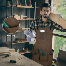 More details for carpenters apron gardening heavy duty woodwork apron with pocket tool holder uk