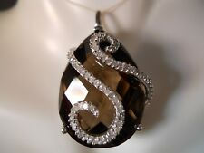 HEAVY 10K WHITE GOLD 30CT BIG SMOKEY TOPAZ VS DIAMOND FLOWER NECKLACE PENDANT