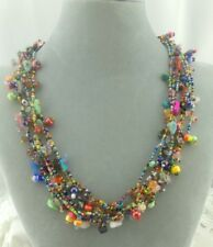 "Multi Color Chunky Czech Glass Bead Necklace 24"" Magnetic Clasp Fashion Jewelry"