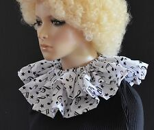 BLACK & WHITE MUSICAL NOTES CLOWN CIRCUS COLLAR neck ruff/ruffle ADULT SIZE