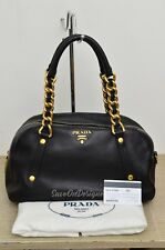 Prada BL0692 Black Vitello Calf Shoulder Bag w/ Chain Strap GU Authentic