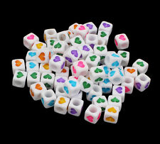 100 White Mixed Numbers Cube Beads 6mm for Jewellery Making Buy 3 for 2