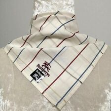 "NWT Handkerchief Square Unisex White/Blue/Red Grid Signature Cotton17"""