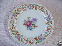 """Rare Meito china 10"""" plate Rose & Gold Trim Deco made in Japan Good Condition."""