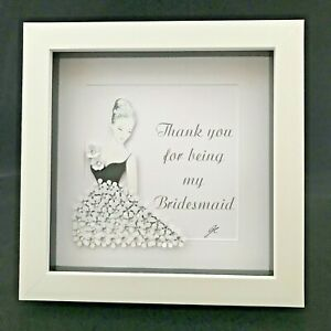 Personalised Art Picture Gifts Wedding Love Thank You Bridesmaid Diamante Flower
