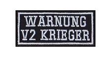 Warnung V2 Krieger Biker Patches Aufnäher Rocker Bügelbild Kutte Motorrad Heavy