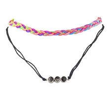 Lux Accessories Bright Neon Color Layer Kitschy Hippie Choker Necklace Set 2PCS