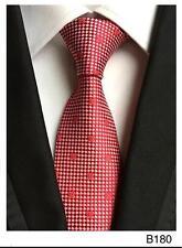 Rojo y Blanco Lunares Estampado Hecho a Mano 100% Seda Corbata de Boda