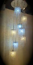 Crystal Chandelier Chrome Ceiling Light glass lighting lamp 8 Flexible Pendents