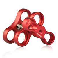 """New 1"""" Ball Clamp Butterfly Joint Clip Dual Holder for Underwater Diving Camera"""