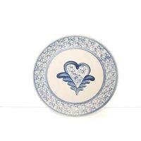 Beaumont Brothers Dinner Plate Blue Salt Glazed Spongeware Heart  9 1/2 Inches