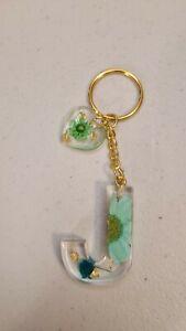 Handmade Resin Initial Letter J Keychain