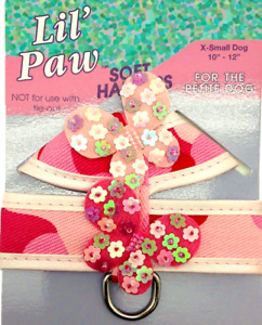 """New Lil Paw Dog Pet Soft Stap Harness Puppy Pink Butterfly X Small Girth 10-12"""""""