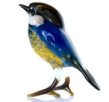 "Blue Yellow Tomtit Figurine Blown Glass ""Murano"" Art Bird Titmouse Miniature"