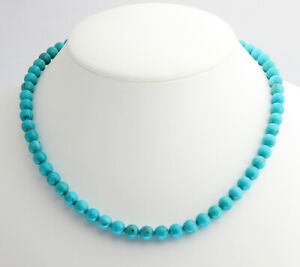 Real Turquoise Chain Arizona/Sleeping Beauty Ball Necklace Noble Natural 17 7/