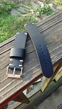 Handmade Black 20mm Oil-Tanned Leather Watch Strap (Vintage Style)