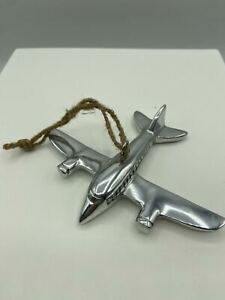 Pottery Barn Silver Plane Christmas Tree Ornament NWT!