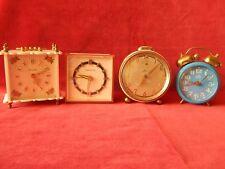 4X Old Wind Up Alarm Clocks Jerger Kaiser Topflite Mom S/R