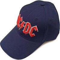 OFFICIAL LICENSED - AC/DC - RED LOGO NAVY BASEBALL CAP ANGUS ROCK