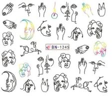 Nail Art Stickers Water Decals Abstract Lines Faces (BN1245)