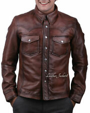 Men's Real Leather Police Shirt Cuir Bluf Burgundy Gay Bikers Lederhemd
