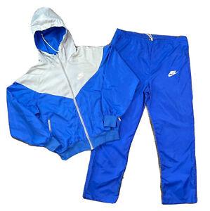 Vintage Nike Windbreaker Tracksuit Set Pants & Hooded Jacket Blue Grey Size L
