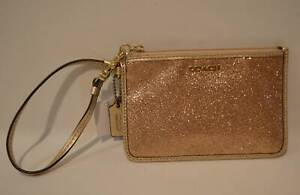 Coach Legacy Small Wristlet Gold Glitter With Leather Trim 50374