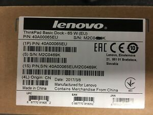 Brand New Lenovo ThinkPad Basic Dock 65W EU (40A00065EU)