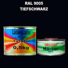 Tiefschwarz RAL 9005 MATT Acryllack 0,75 kg mit Härter Frei Haus