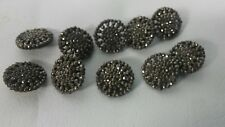 Beautiful 10 pcs matching  antique Victorian cut steel round buttons