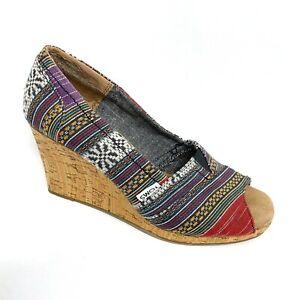 Toms Wedge Cork Peep Toe Slip On Canvas Sandals Womens Size 7