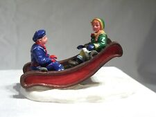 Lemax Christmas Village Accessory Up & Down - Boy and girl in a sled teeter