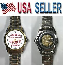 Personalized custom WATCH  Pic Logo Photo men's women's NEW AUTOMATIC  WR 3ATM