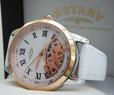 Rotary Swiss Ladies watch Automatic Skeleton White Strap RRP£180 Limited