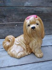 LARGE DOG FIGURINE/ LHASA APSO CERAMIC DOG/ VTG PUPPY COLLECTIBLE/ GLASS DÉCOR