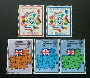 Britain Gibraltar Joint Issue Entry Of Great Britain To EEC Flag 1973 (stamp MNH