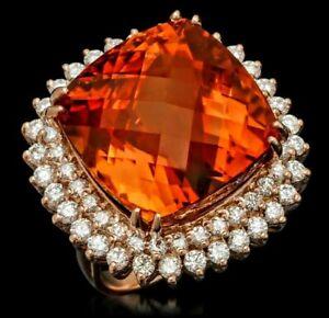 NATURAL HUGE CITRINE 29.81 CTS, 64 DIAMOND 2.1 CTS, 14K ROSE GOLD RING, 16.8g