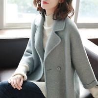 2019 Women Wool Short Outwear Jacket Coat OL Peacoat Trench Cashmere Fall Winter