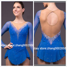 Ice skating dress.blue Competition Figure Skating/Baton Twirling dress adult XL