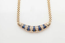 Designer $6000 6ct Natural French Cut Blue Sapphire Diamond 14k Gold Necklace 17