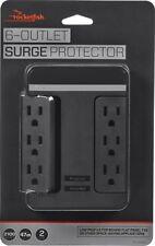 Rocketfish- 6-Outlet/2-USB Swivel Wall Tap Surge Protector - Black
