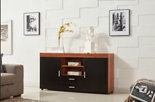 Large 2 Doors 2 Drawers Cabinet Sideboard Cupboard Chest  in Walnut/Black
