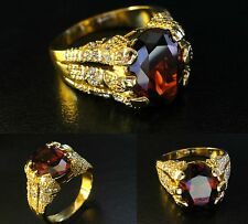Men's deluxe 18k yellow gold filled red ruby crystal ring, various sizes, / UK