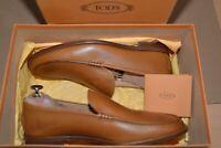 TOD'S Designer Schuhe Designer Slipper EU 40,5 6,5 Leather Brown Neu NEW BOX