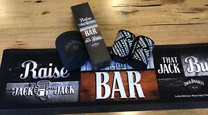 JACK DANIELS Bar Mat,2Magnetic Stubby Holders,1Clip On Dry As Bone Stubby Holder