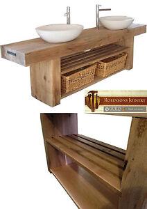 Vanity unit wash stand sink basin solid oak bespoke rustic finish