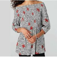 new J. JILL Red Floral Black Palm Secret Smocked Tunic Top Shirt SMALL ~NWT~