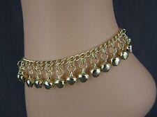 """gold tone jingle bells adjustable anklet ankle bracelet belly dancer 7 to 10.5"""""""
