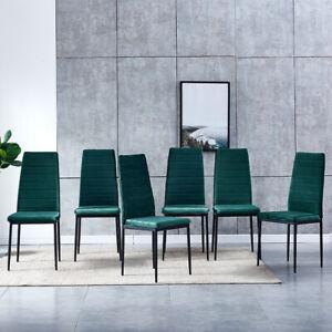 Modern 6x Dining Chairs Side Chairs Velvet Padded High Back Black Green Home BN